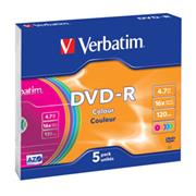 DVD-R VERBATIM Colour 4,7GB 16X Slim box 5ks/bal.